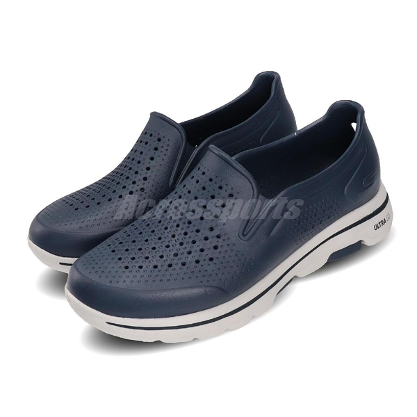 Skechers 休閒鞋 Go Walk 5-Easy Going 藍 灰 男鞋 水鞋 排水設計 套入式 懶人鞋【PUMP306】 243000NVY