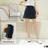 《CA2050-》高含棉側綁帶假兩件層次短裙 OB嚴選