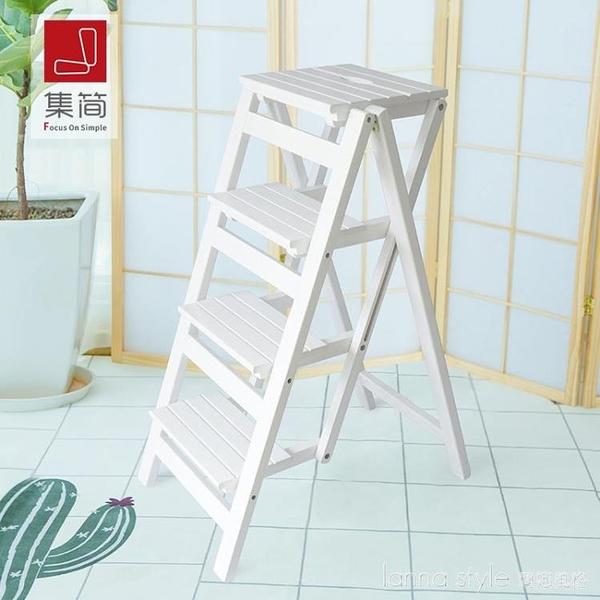 加高免安裝家用加厚多功能折疊梯子實木四步登高人字梯置物架 新品全館85折 YTL