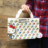 Hamee 日本 哆啦a夢 凱蒂貓 聯名款 帆布包 手提袋 托特包 (Hello Kitty) 457-403508