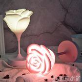 小夜燈 玫瑰花小夜燈浪漫溫馨USB充電觸摸三擋調光LED台燈少女閨蜜禮物 非凡小鋪