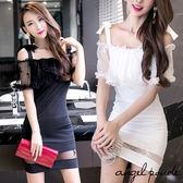 天使波堤~LC0213 ~平口一字領蕾絲披肩吊帶連身裙包臀洋裝小禮服共二色白色派對 防曬罩