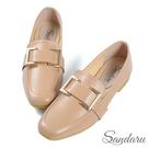 紳士鞋 精緻方釦皮革方頭鞋-駝