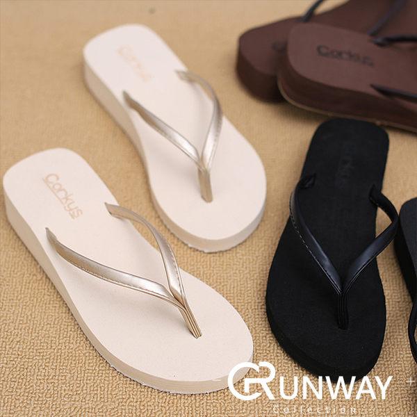【R】厚底 簡約人字拖 素色 楔型 3.5CM 夾腳拖 皮質 海邊度假 夾腳拖 海綿底 夏季涼鞋