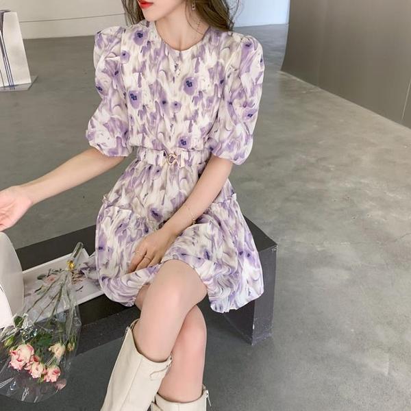 雪紡洋裝 2021夏季新款法式復古短袖連身裙女泡泡袖收腰氣質小個子雪紡短裙 晶彩 99免運