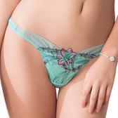 思薇爾-爵色花宴系列M-XL刺繡低腰丁字褲(青玉藍)