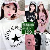 克妹Ke-Mei【AT47356】UNIVER五角星星大蝙蝠袖U領T恤寬鬆洋裝