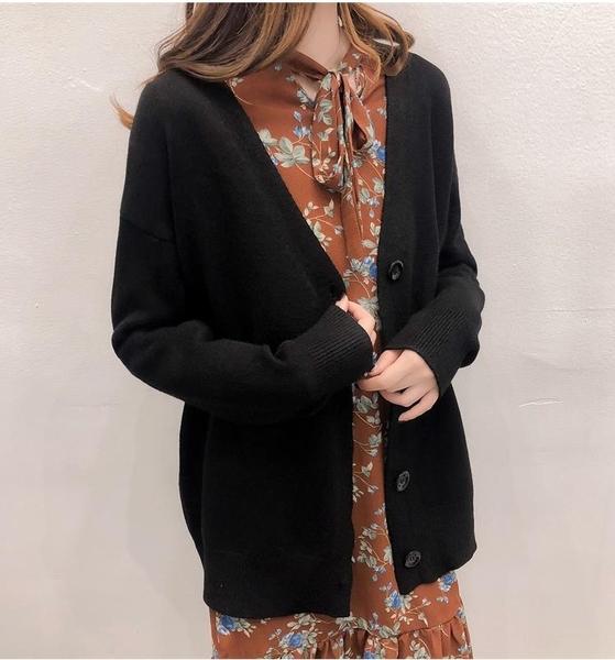 N001# 毛衣女針織衫開衫春秋韓版慵懶風寬鬆百搭毛衣外套 &小咪的店&