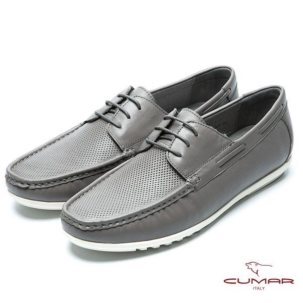 CUMAR 樂活休閒 綁帶沖孔白底帆船鞋-灰色