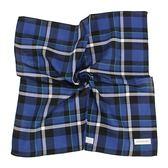 Calvin Klein 交錯大格紋純綿帕巾(寶藍色)989091-263