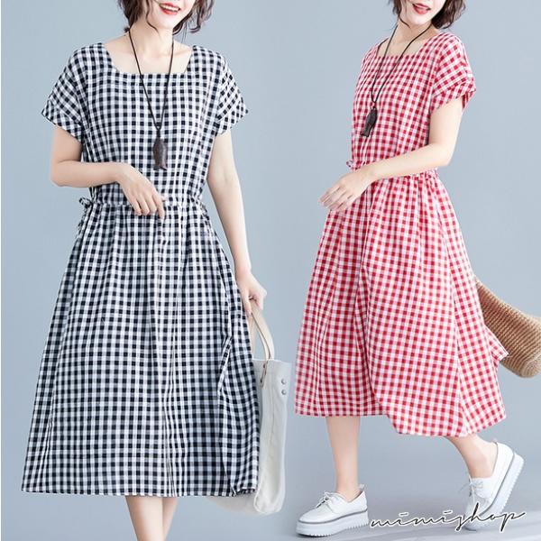 孕婦裝 MIMI別走【P521476】單穿就舒適 棉麻格子抽繩連身裙 孕婦洋裝 長裙