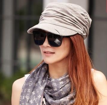 陽帽女貝雷帽顯瘦褶皺平頂帽軍帽鴨舌帽八角帽 -com10043