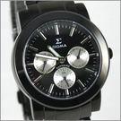 【萬年鐘錶】SIGMA 全黑白圈三眼時尚腕錶 8807M-B3