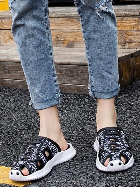 包頭拖鞋男士潮運動夏季防滑青年透氣網布半拖鞋休閒編織涼鞋厚底 印巷家居