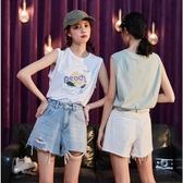 唐獅年夏新款女背心外穿寬松遮肚子內搭上衣無袖t恤韓版白色 瑪麗蘇