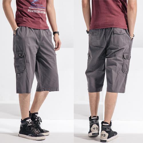 鐵灰輕盈水洗多口袋工作短褲.七分褲(30腰~38腰)