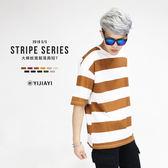 【YIJIAYI】✔(現貨) 韓國配色 橫條 落肩 寬鬆 T恤 短T (0536)
