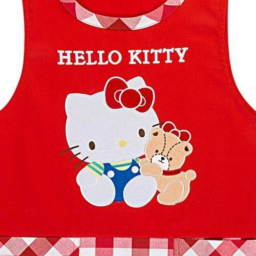 Sanrio HELLO KITTY罩衫式圍裙(紅白格紋)★funbox★_654205