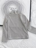 童裝秋裝女童條紋半高領長袖T恤上衣兒童寶寶加厚打底衫  莫妮卡小屋
