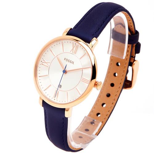 FOSSIL Jacqueline 香檳優雅風的皮革女性手錶(ES3843)-淡香檳色面/35mm
