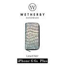 【G2 STORE】WETHERBY-PRIMECROCO-iPhone6/6sPlus-5.5吋手工製作鱷魚紋真皮保護套/皮包-時尚銀