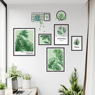 半島良品 DIY北歐風綠植樹葉無痕壁貼-棕梠葉相框 AE0208 60X90cm