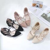 小清新綁帶高跟鞋尖頭粗跟羅馬繫帶包頭涼鞋女中跟百搭夏季女鞋潮 提拉米蘇