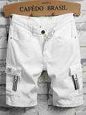 夏季淺色白色日系工裝男士牛仔短褲男潮流5五分褲寬鬆4分七分中褲