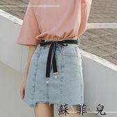 韓版修身顯瘦A字不規則牛仔短裙