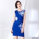 無袖洋裝 2020秋季新款無袖重工藝刺繡純色簡約優雅收腰顯瘦包臀連衣裙女裝