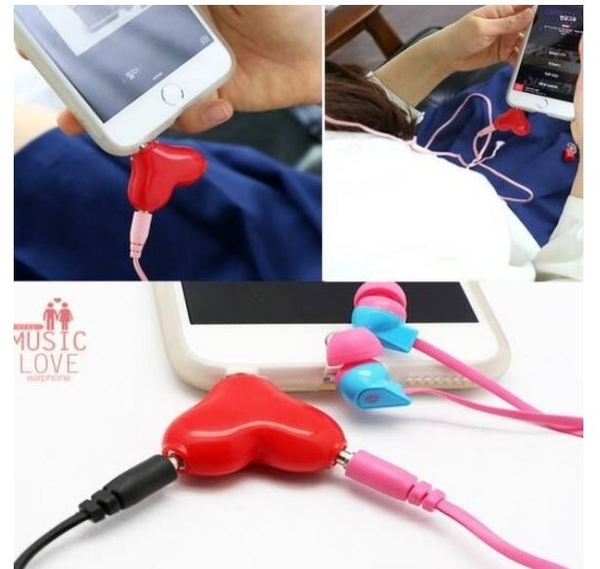 朴信惠同款愛心耳機分線器 愛心造型耳機分享器 情侶耳機分線器【Mr.1688先生】