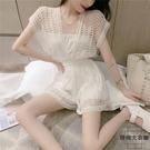 連體短褲女韓系時尚小眾露背系帶收腰顯瘦縷空夏季【時尚大衣櫥】