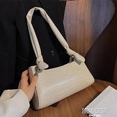 法國質感流行包包女側背包2020新款潮夏天小眾腋下包法棍包奶茶色斜背包