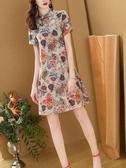 反季杭州真絲連身裙女士2020夏新款桑蠶絲短袖洋氣旗袍裙特價清倉 雙11提前購
