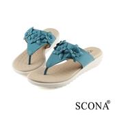 SCONA 蘇格南 真皮 輕.舒適小花夾腳涼拖鞋 藍色 31019-1