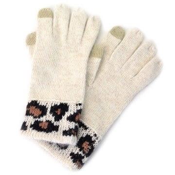 米菲客 COACH 金蔥搭配豹紋造型 品牌皮標 混羊毛材質 可觸碰手機 保暖 手套(米)86022