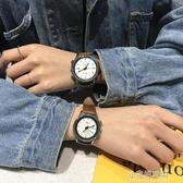 潮流bf時尚大氣圓形皮帶百搭休閒ulzzang學院風中性情侶帥氣手錶 【快速出貨】