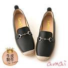 amaiMIT台灣製造。馬銜釦內增高真皮休閒鞋 黑