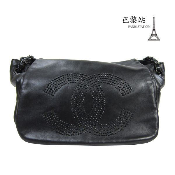 【巴黎站二手名牌專賣】*現貨*CHANEL 香奈兒 真品* 經典雙C LOGO 黑色皮革鏈包
