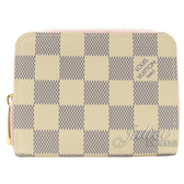 Louis Vuitton LV N60229 白棋盤格紋信用卡拉鍊零錢包.芭蕾粉 全新 現貨【茱麗葉精品】