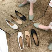 豆豆鞋女2019新款秋鞋單鞋百搭春秋平底網紅淺口黑色上班工作鞋女