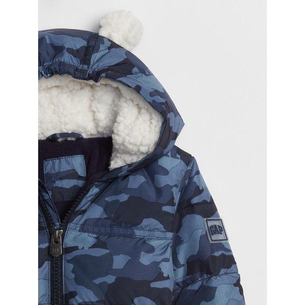 Gap男嬰兒 溫暖印花長袖棉服夾克 348541-藍色迷彩