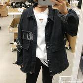 秋季牛仔外套韓版潮流修身學生衣服bf復古夾克 深藏blue