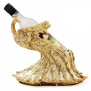 鍍金工藝品 孔雀紅酒架