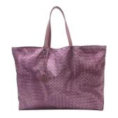 BOTTEGA VENETA 寶緹嘉 紫色仿編織印染尼龍手提包 購物包 【二手名牌BRAND OFF】