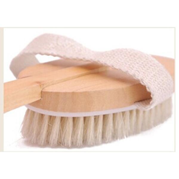 Qmishop 木制 長柄 天然豬鬃毛沐浴刷 洗澡按摩刷搓澡搓背刷 洗背刷洗澡刷【J1805】
