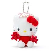 〔小禮堂〕Hello Kitty 絨毛玩偶娃娃吊飾《紅》掛飾.鑰匙圈.2020花漾系列 4901610-16440