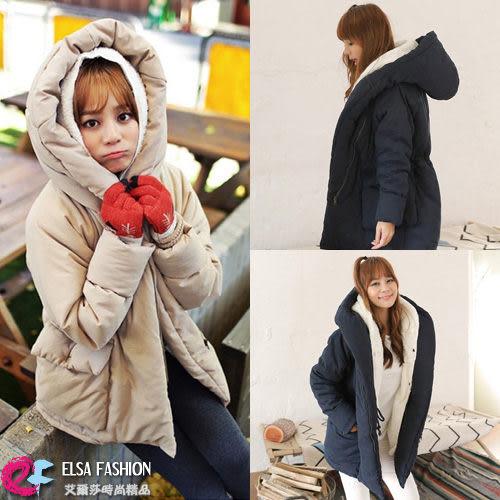 夾克棒球外套*艾爾莎*可拆式收腰大口袋羊羔毛棉服連帽兩件套外套【TAK2349】
