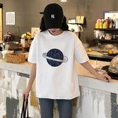 【GZ L1】長版上衣 韓版寬鬆百搭亮片星球短袖T恤 原宿風短袖上衣