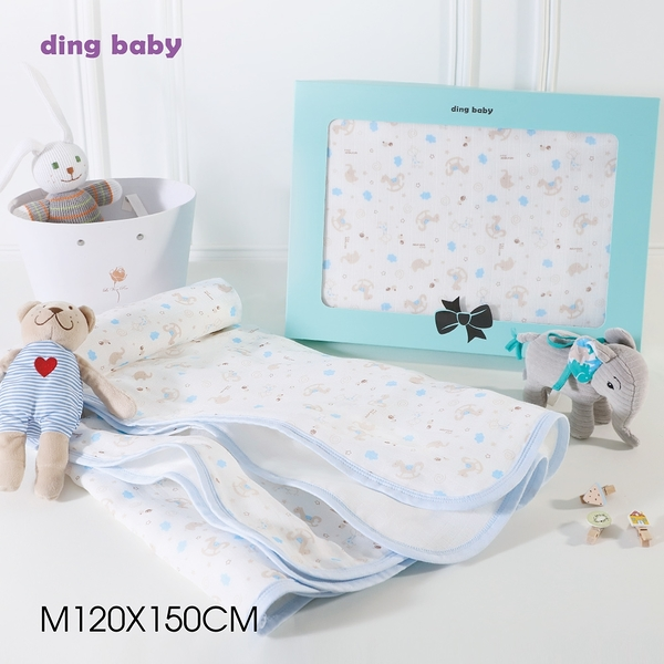 ding baby 六層紗純棉四季被-歡樂藍 (M/L號)